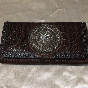 WESTERN FAUX LEATHER WALLET ALLIGATOR SKIN